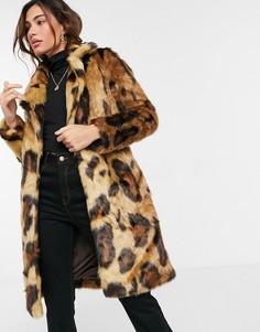 Искусственная шуба с леопардовым принтом Urbancode-Многоцветный