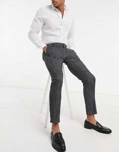 Строгие брюки из фактурного материала River Island-Серый