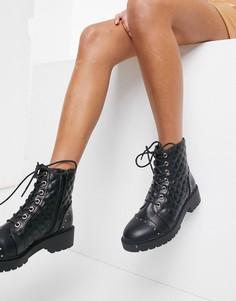 Черные стеганые байкерские ботинки на шнуровке New Look-Черный