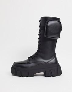 Черные высокие ботинки из искусственной кожи на массивной подошве со шнуровкой и карманами ASOS DESIGN-Черный