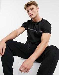Черная футболка с полосками и логотипом Tommy Hilfiger-Черный