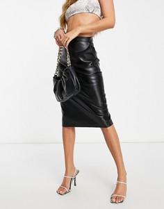 Черная юбка-карандаш миди из полиуретана Ivyrevel-Черный