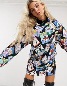 Трикотажное платье-футболка с принтомLove Moschino-Черный