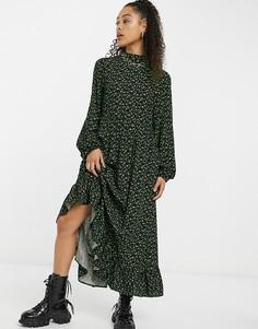 Свободное платье макси с завязками на шее и зеленым размытым принтом Vintage Supply-Зеленый