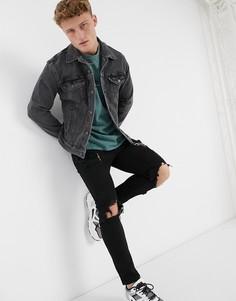Черная выбеленная джинсовая куртка Levis-Черный