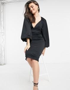 Черное платье-карандаш миди с объемными рукавами ASOS DESIGN-Коричневый