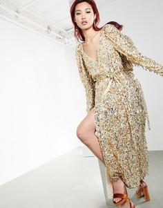 Платье миди с запахом и пайетками золотого цвета ASOS EDITION-Золотистый