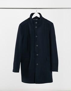 Темно-синее пальто Selected Homme-Темно-синий