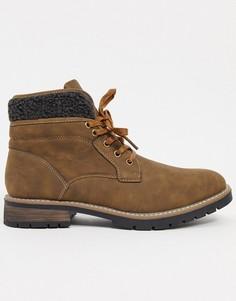 Светло-коричневые ботинки из искусственной кожи на шнуровке Brave Soul-Светло-коричневый