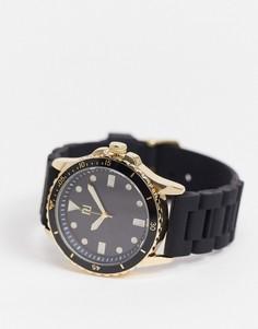 Золотисто-черные мужские часы с силиконовым ремешком River Island-Черный