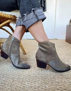 Серо-коричневые ботильоны на среднем каблуке Ash Heidi-Бежевый