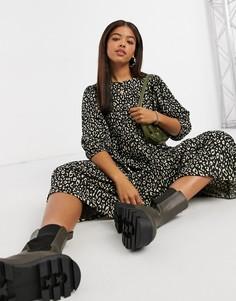 Свободное платье миди с многослойной юбкой и леопардовым принтом Only-Многоцветный