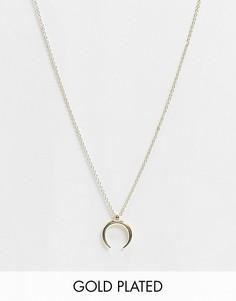 Ожерелье с полукруглой подвеской и покрытием из 18-каратного золота Pieces-Золотой