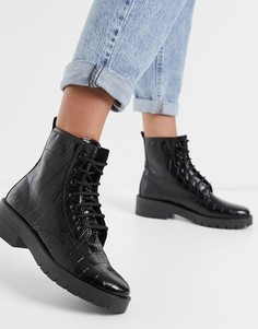 Черные ботинки на шнуровке с эффектом крокодиловой кожи Topshop-Черный