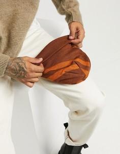 Коричневая мини шапка-бини в полоску в стиле 70-х ASOS DESIGN-Коричневый