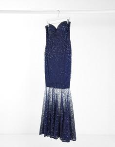 Темно-синее платье макси с украшением из прозрачных пайеток Goddiva-Темно-синий