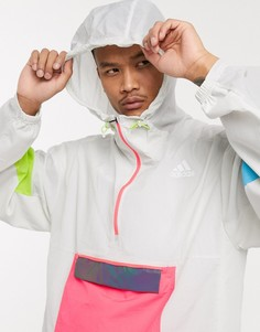 Белая ветровка со вставками колор блок adidas Running-Белый