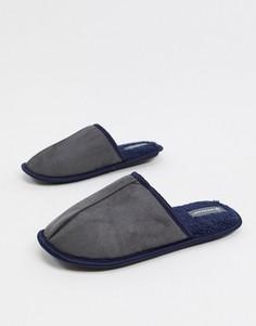 Серые слиперы на подкладке из искусственного меха и без застежки Dunlop-Серый