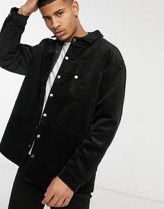 Черная вельветовая куртка Topman-Черный