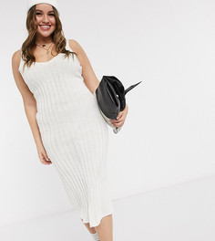 Кремовое платье миди в рубчик In The Style Plus x Shaughna-Кремовый
