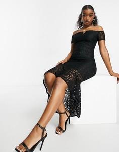 Черное платье миди со спущенными плечами AX Paris-Черный