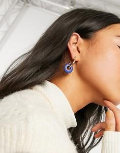 Золотистые серьги-кольца с синей отделкой Topshop-Золотистый