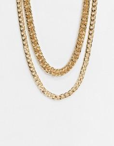 Золотистое ожерелье из нескольких цепочек с массивными звеньями Topshop-Золотистый