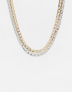 Ярусное ожерелье с плоскими звеньями золотистого и серебристого цвета Topman-Многоцветный