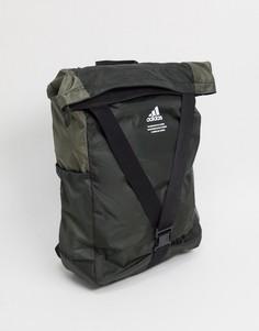 Серый складной рюкзак adidas-Зеленый