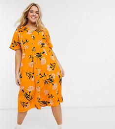 Чайное платье миди с винтажным цветочным принтом Wednesdays Girl Curve-Желтый