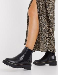 Черные ботинки-челси на массивной подошве с окантовкой New Look-Черный