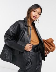 Черная кожаная куртка с утепленной подкладкой Selected Femme-Черный