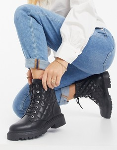 Черные стеганые ботинки на шнуровке Amy от ASOS DESIGN-Черный