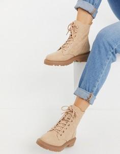Бежевые стеганые ботинки на шнуровке ASOS DESIGN Amy-Бежевый