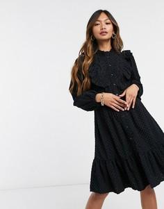 Черное платье с кружевными вставками и защипами & Other Stories-Черный