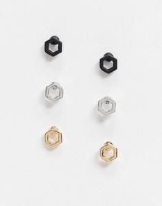 Три пары шестиугольных серег-гвоздиков разных цветов Topman-Многоцветный