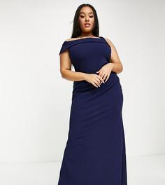 Темно-синее платье макси на одно плечо с юбкой годе Goddiva Plus-Темно-синий