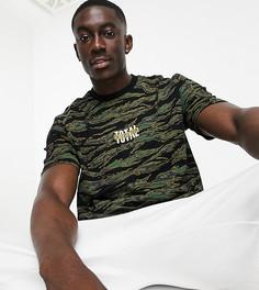 Камуфляжная футболка в стиле oversized Topman exclusive @ ASOS-Зеленый