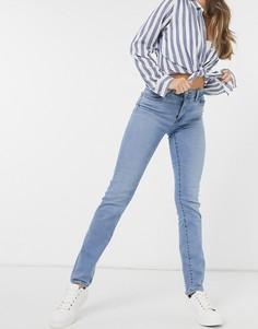 Голубые выбеленные джинсы с завышенной талией и прямыми штанинами Levis 724-Голубой