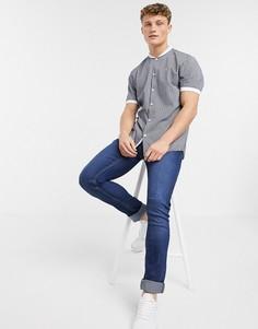 Темно-синяя бейсбольная рубашка в полоску с короткими рукавами River Island-Темно-синий