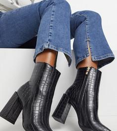 Черные ботинки с квадратным мыском и крокодиловым рисунком Glamorous Wide Fit-Черный