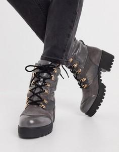 Серые массивные походные ботинки из комбинированных материалов RAID Acorn-Серый