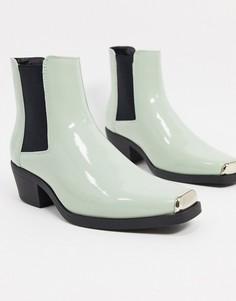 Светло-зеленые ботинки челси в стиле вестерн из искусственной лакированной кожи на кубинском каблуке ASOS DESIGN-Зеленый