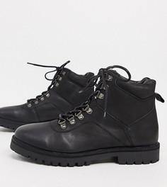 Кожаные походные ботинки черного цвета на шнуровке и массивной подошве для широкой стопы Silver Street-Черный
