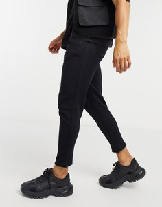 Черные облегающие джоггеры с необработанным низом штанин и карманами на молнии ASOS DESIGN-Черный