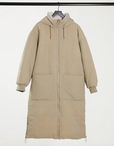 Удлиненная дутая стеганая куртка в цвете экрю Topshop-Кремовый