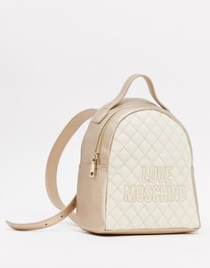 Стеганый рюкзак Love Moschino цвета слоновой кости и серебра с контрастной строчкой-Кремовый
