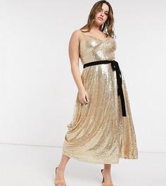 Приталенное платье миди на тонких бретелях с золотистыми пайетками и контрастным бантом Forever U Curve-Золотой