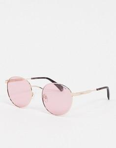 Круглые солнцезащитные очки в золотистой оправе с розовыми стеклами Polaroid X Love Island-Золотистый