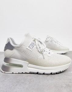 Бело-серебристые беговые кроссовки с блестками на толстой подошве ASH krush-Белый